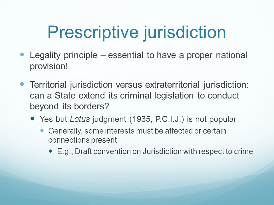 Prescriptive jurisdiction