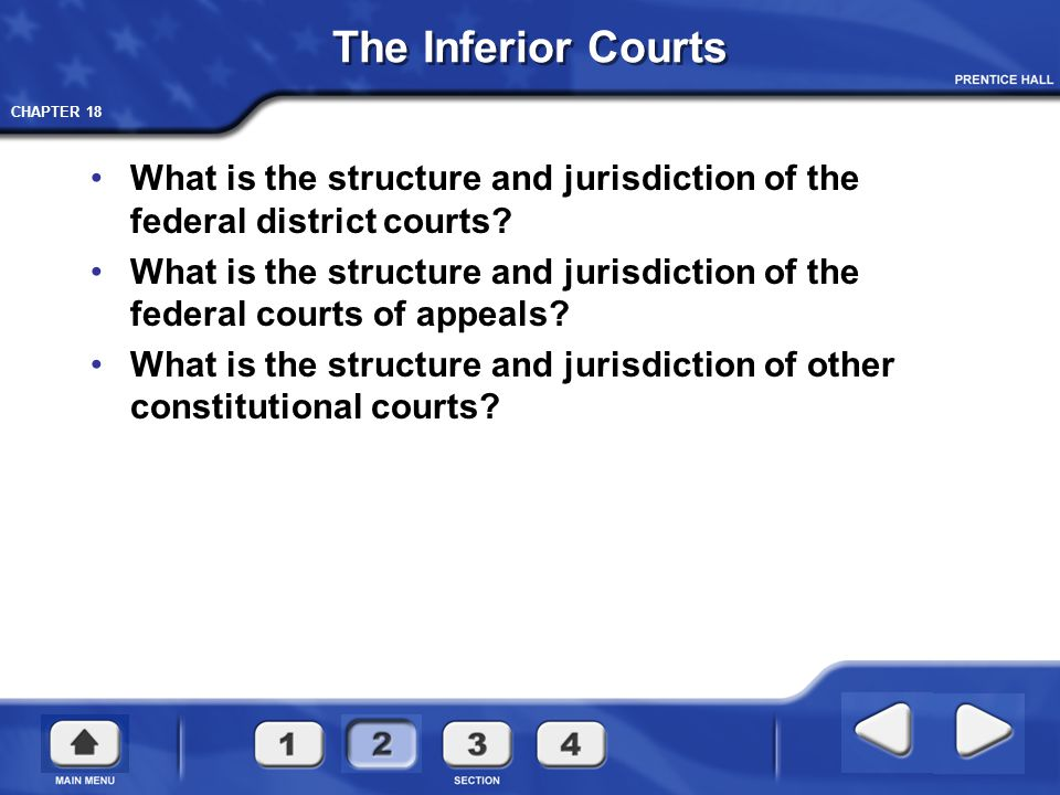 The Inferior Courts What is the structure and jurisdiction of the federal district courts