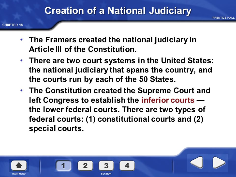 Creation of a National Judiciary