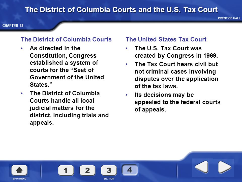 The District of Columbia Courts and the U.S. Tax Court