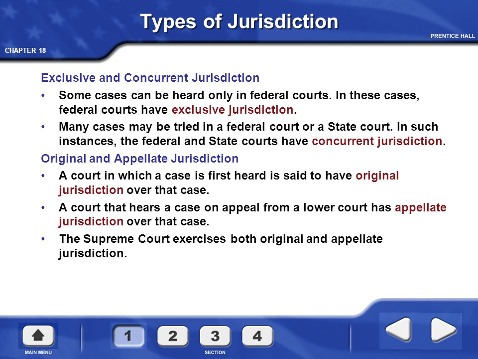 Types of Jurisdiction Exclusive and Concurrent Jurisdiction
