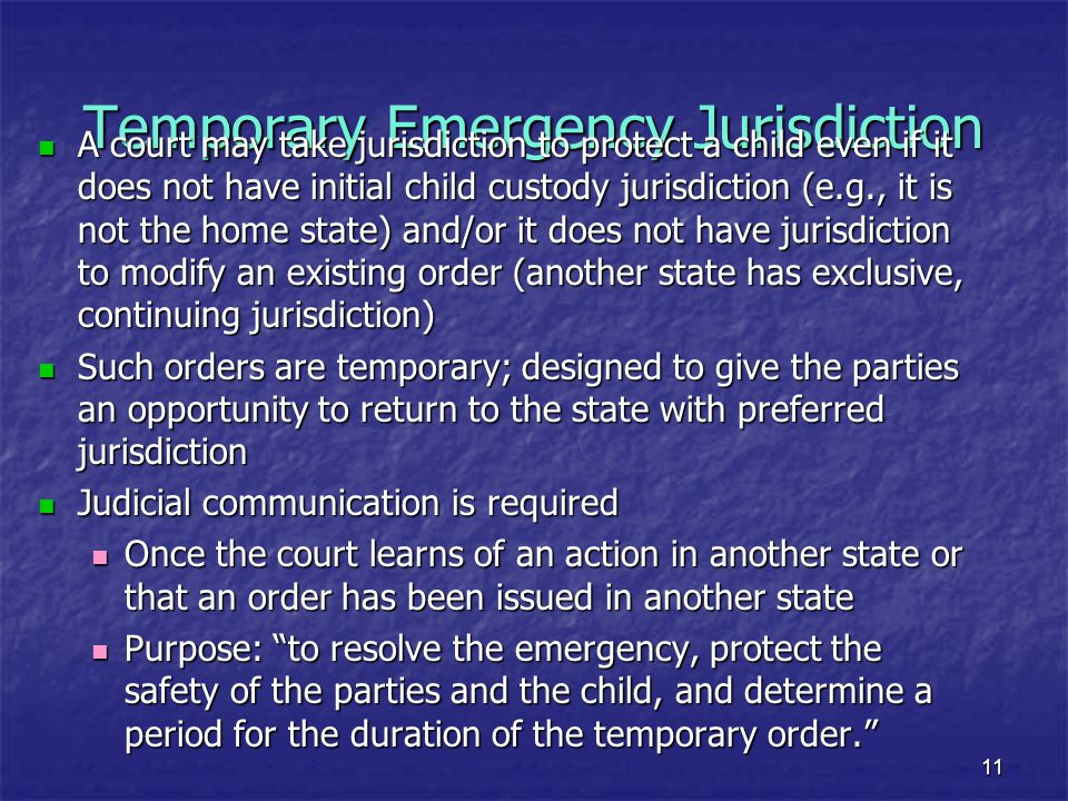 Temporary Emergency Jurisdiction