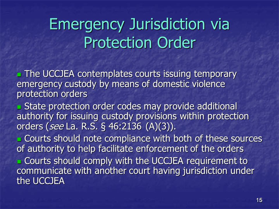 Emergency Jurisdiction via Protection Order