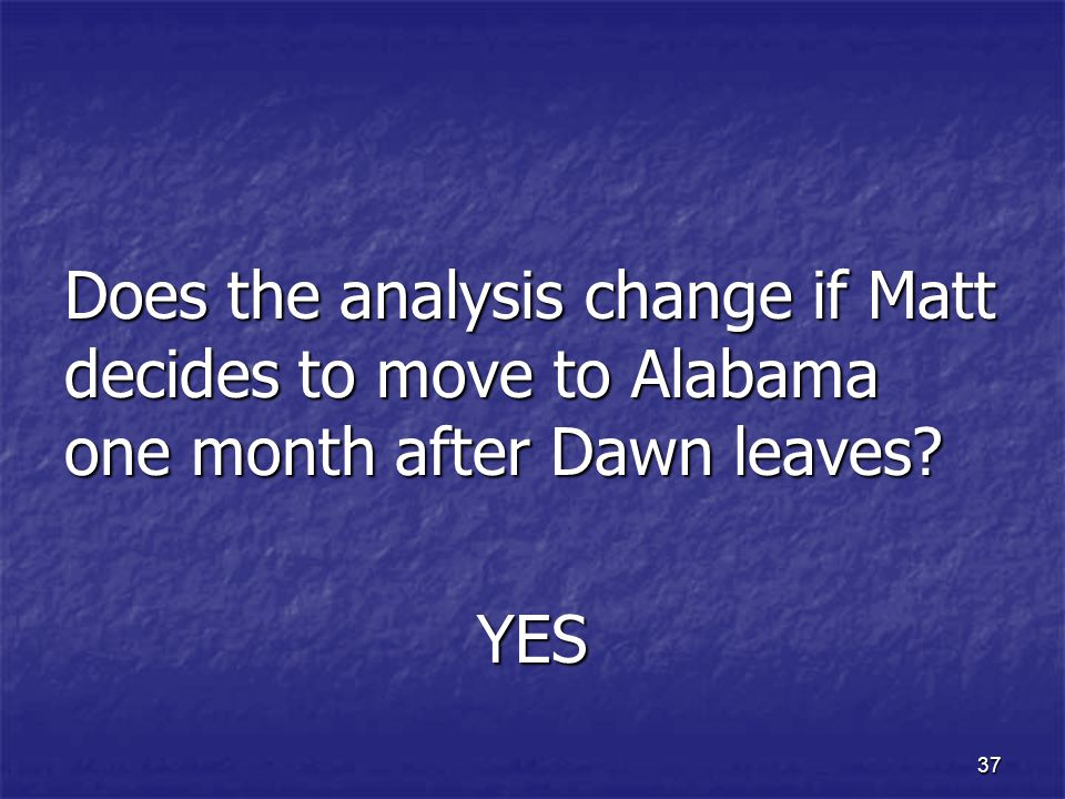 Does the analysis change if Matt decides to move to Alabama one month after Dawn leaves