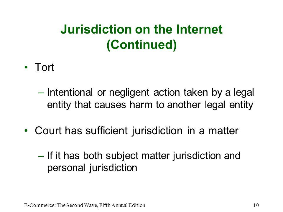 Jurisdiction on the Internet (Continued)