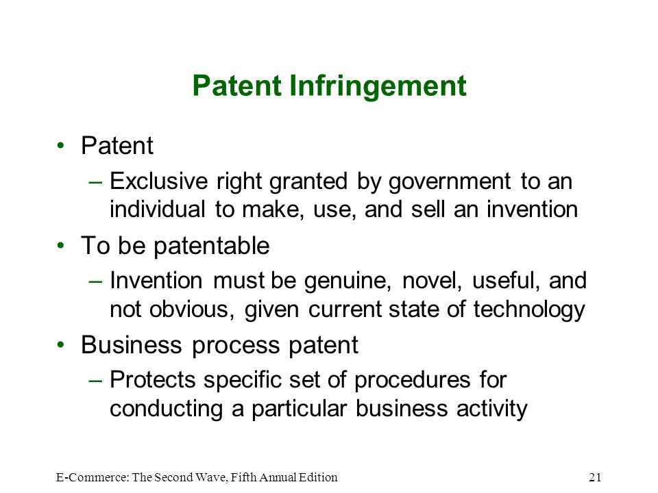 Patent Infringement Patent To be patentable Business process patent