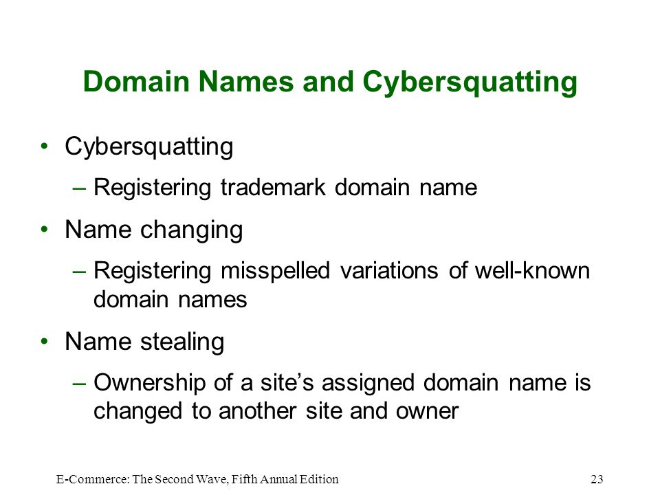 Domain Names and Cybersquatting