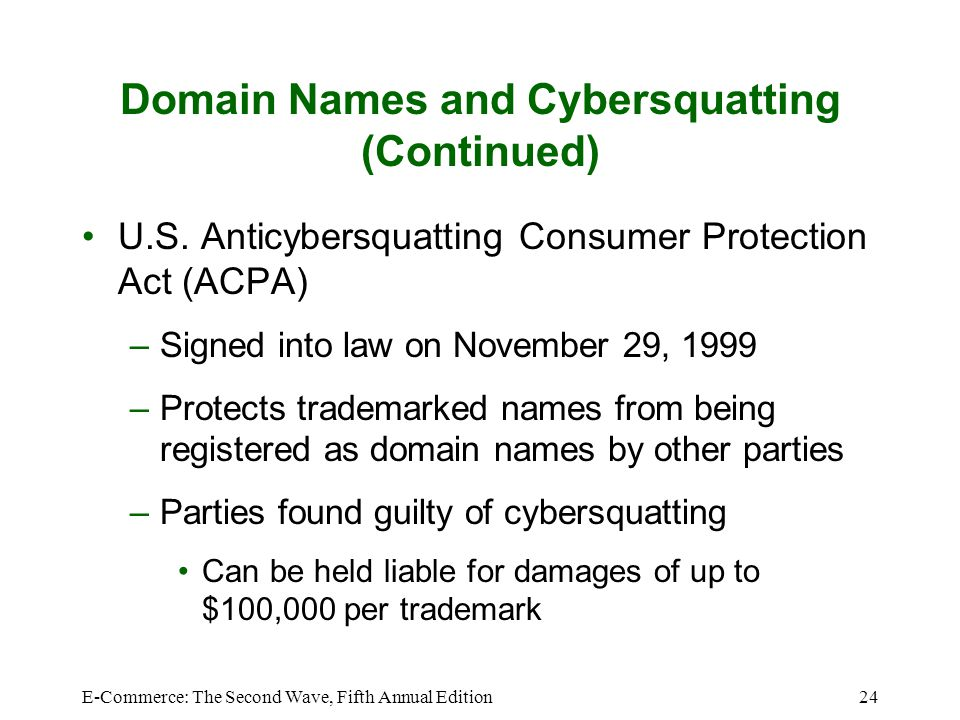 Domain Names and Cybersquatting (Continued)
