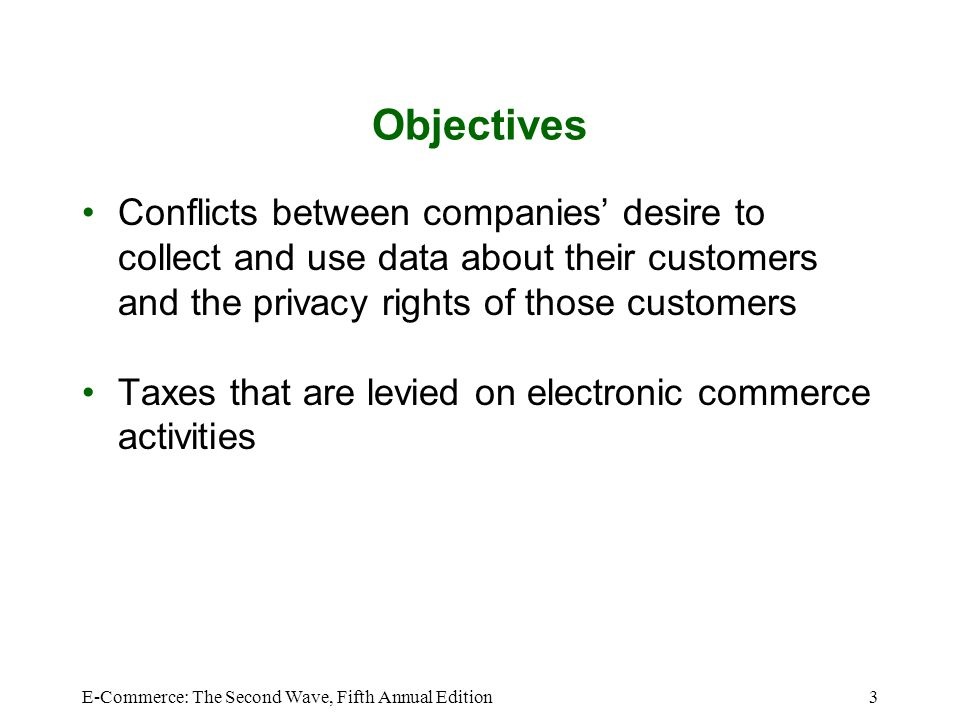 Objectives Conflicts between companies' desire to collect and use data about their customers and the privacy rights of those customers.