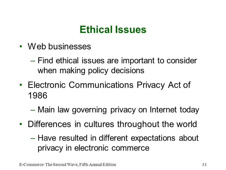 Ethical Issues Web businesses