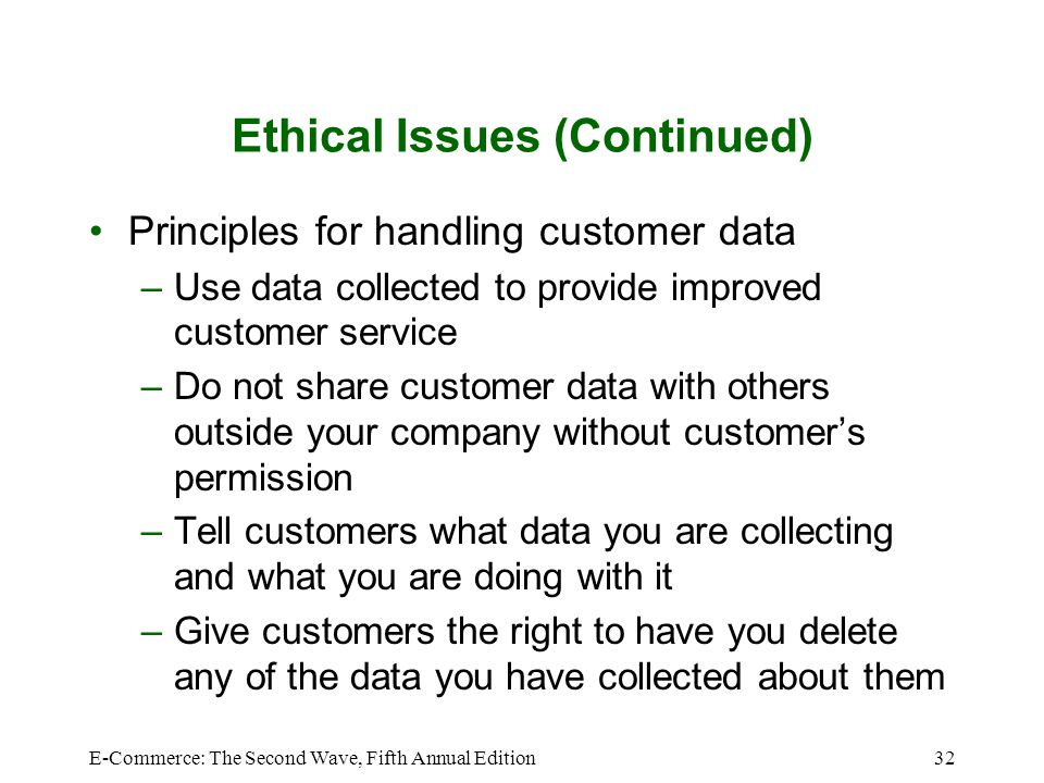Ethical Issues (Continued)