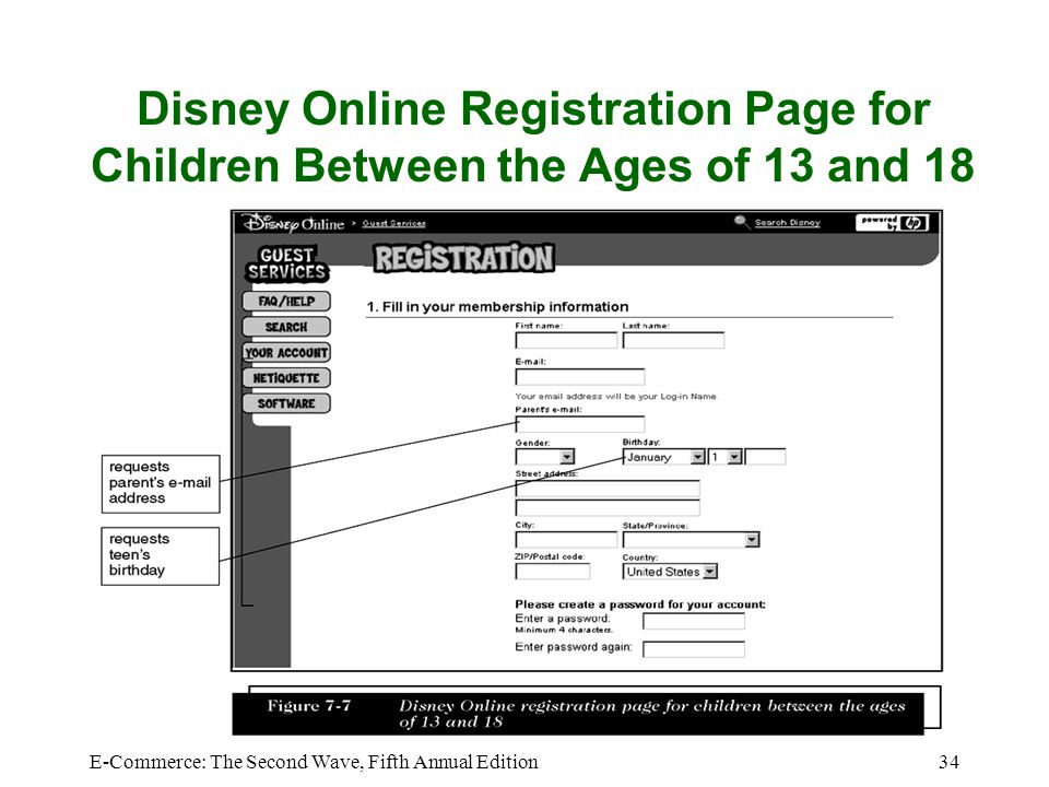 Disney Online Registration Page for Children Between the Ages of 13 and 18