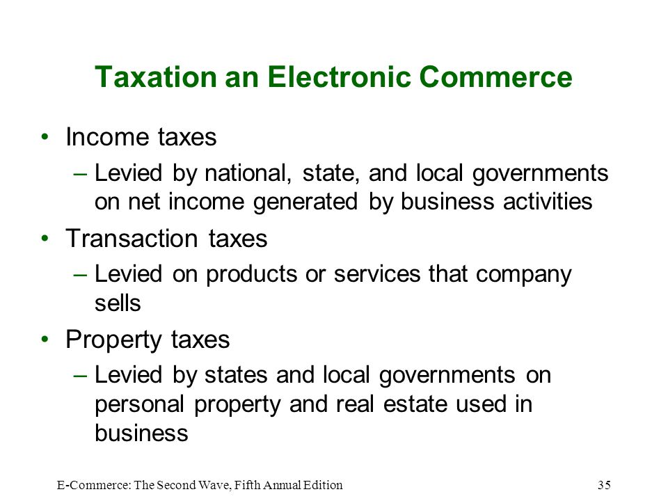 Taxation an Electronic Commerce