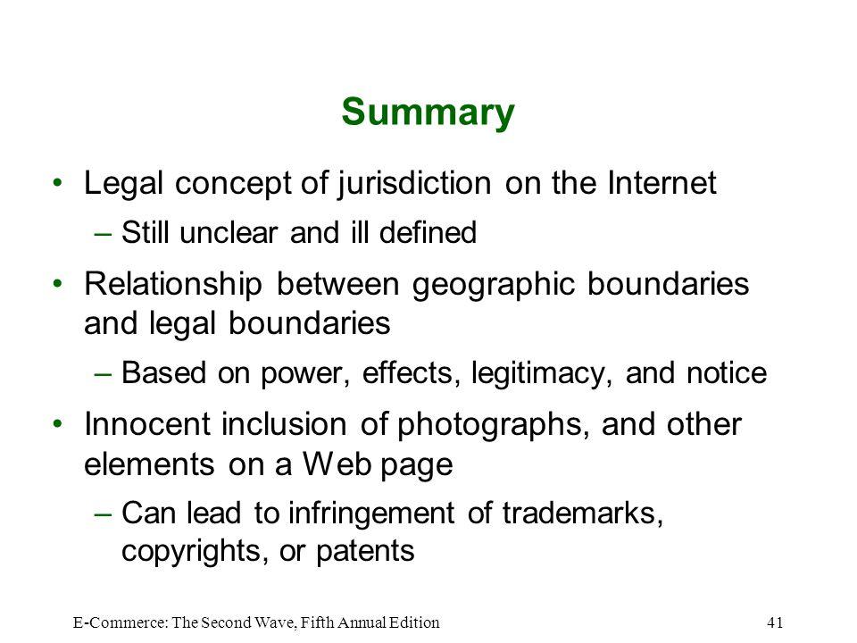 Summary Legal concept of jurisdiction on the Internet