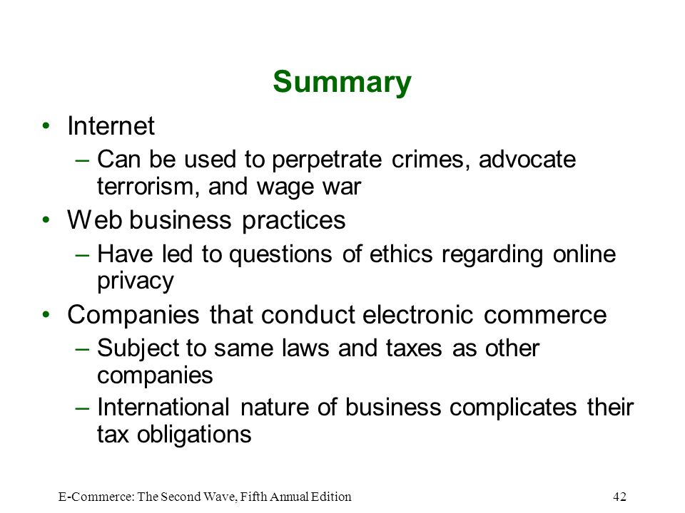 Summary Internet Web business practices