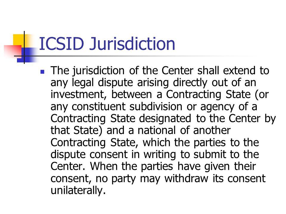 ICSID Jurisdiction