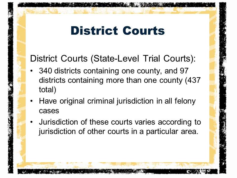 District Courts District Courts (State-Level Trial Courts):