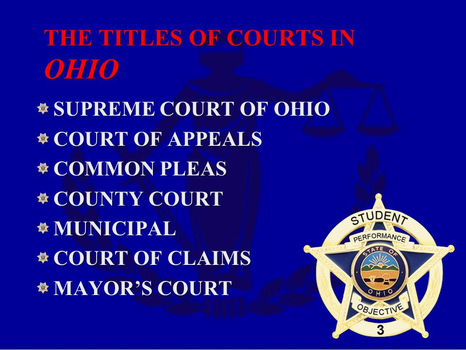 THE TITLES OF COURTS IN OHIO