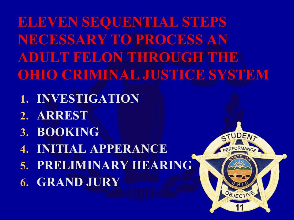 ELEVEN SEQUENTIAL STEPS NECESSARY TO PROCESS AN ADULT FELON THROUGH THE OHIO CRIMINAL JUSTICE SYSTEM