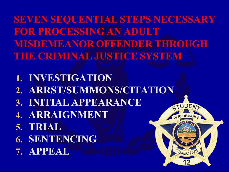 SEVEN SEQUENTIAL STEPS NECESSARY FOR PROCESSING AN ADULT MISDEMEANOR OFFENDER THROUGH THE CRIMINAL JUSTICE SYSTEM