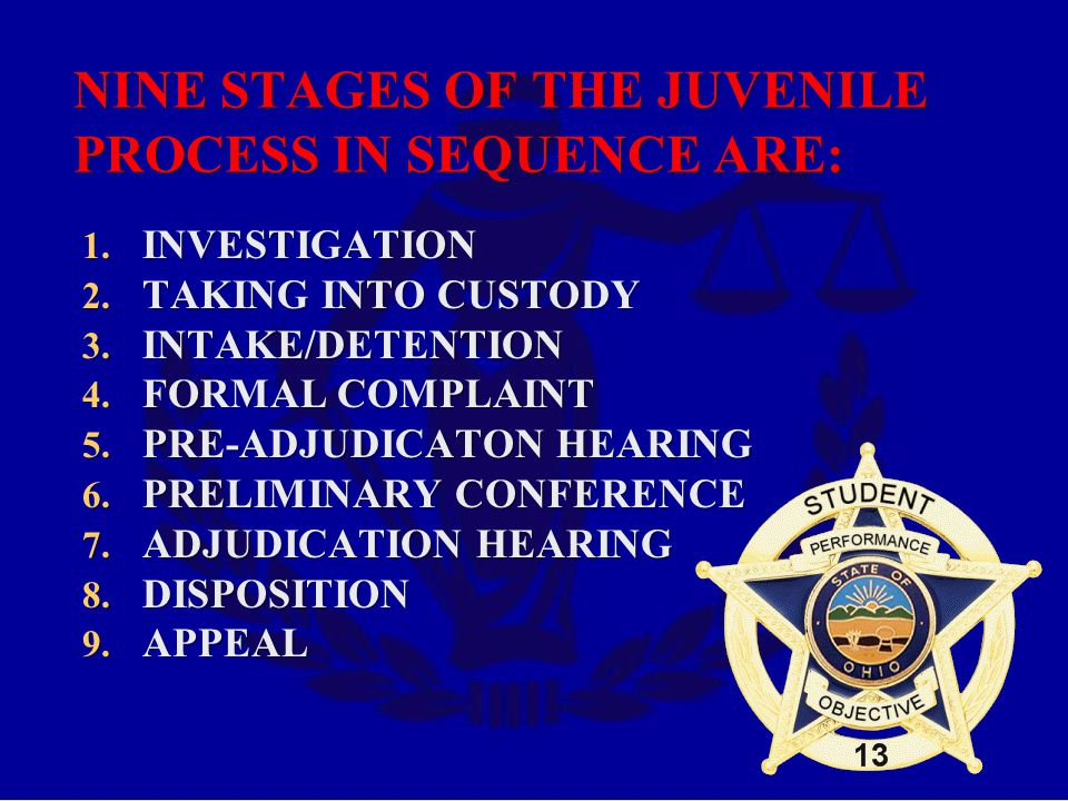 NINE STAGES OF THE JUVENILE PROCESS IN SEQUENCE ARE: