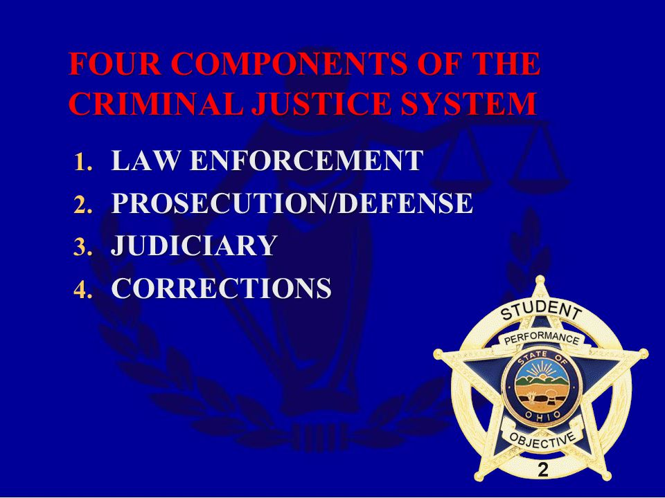 FOUR COMPONENTS OF THE CRIMINAL JUSTICE SYSTEM