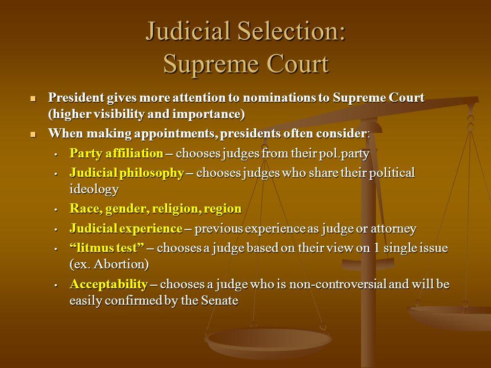 Judicial Selection: Supreme Court