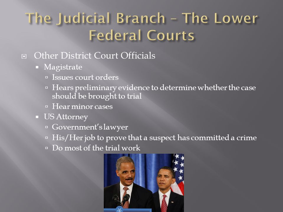 The Judicial Branch – The Lower Federal Courts