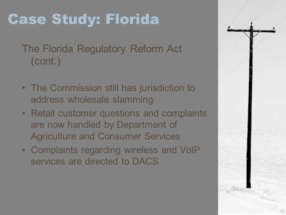 Case Study: Florida The Florida Regulatory Reform Act (cont.)