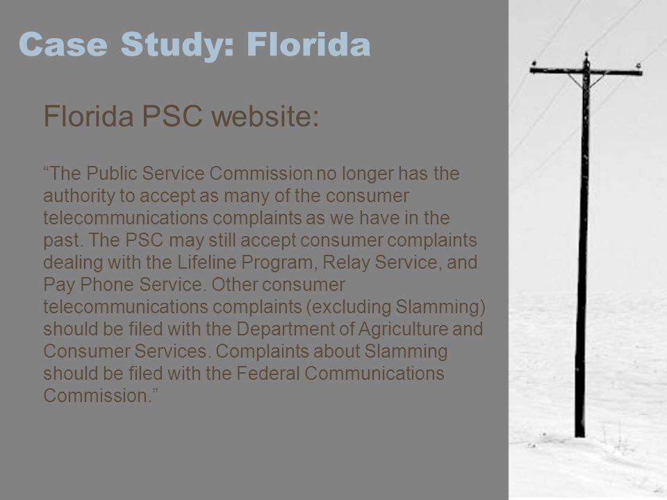 Case Study: Florida Florida PSC website:
