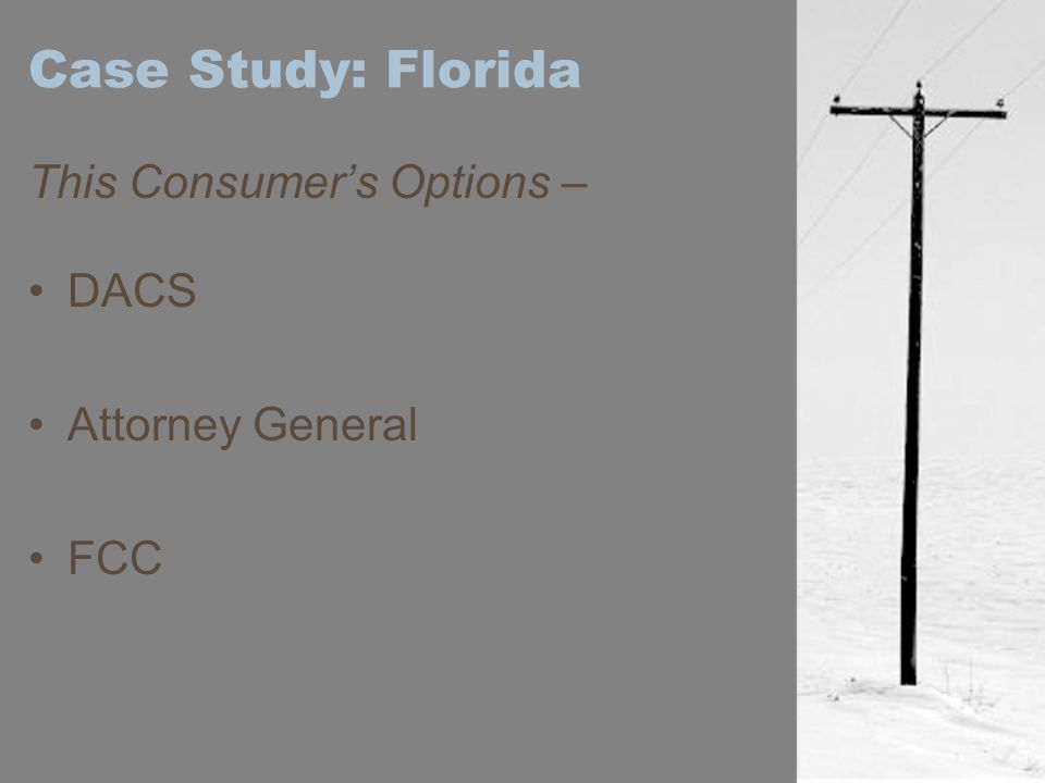 Case Study: Florida This Consumer's Options – DACS Attorney General