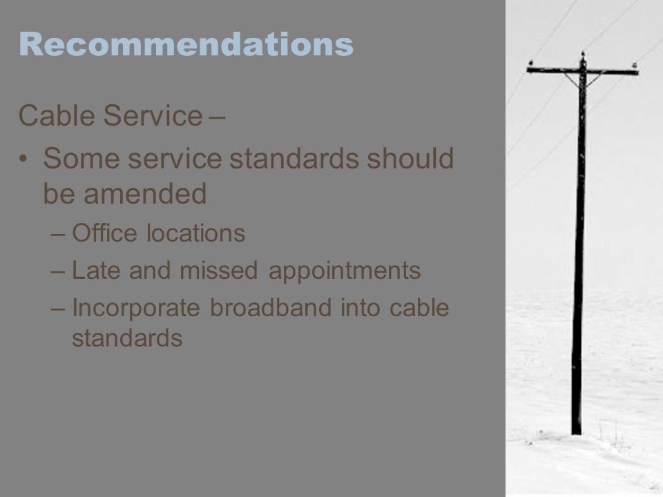 Recommendations Cable Service –