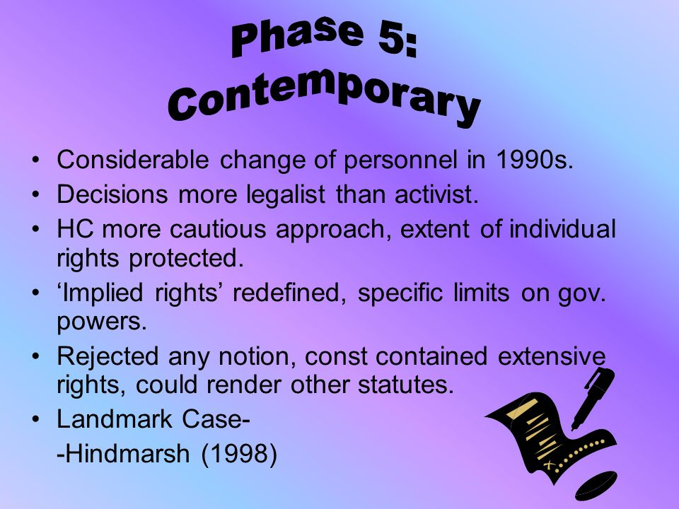 Phase 5: Contemporary Considerable change of personnel in 1990s.