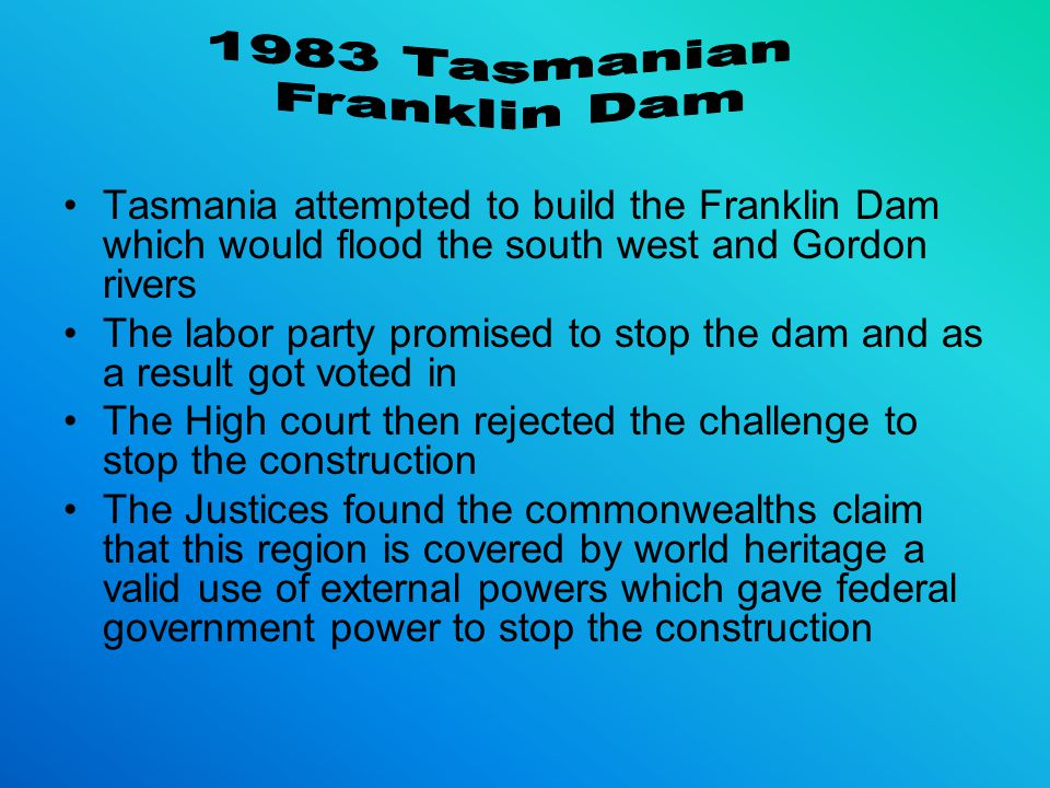 1983 Tasmanian Franklin Dam