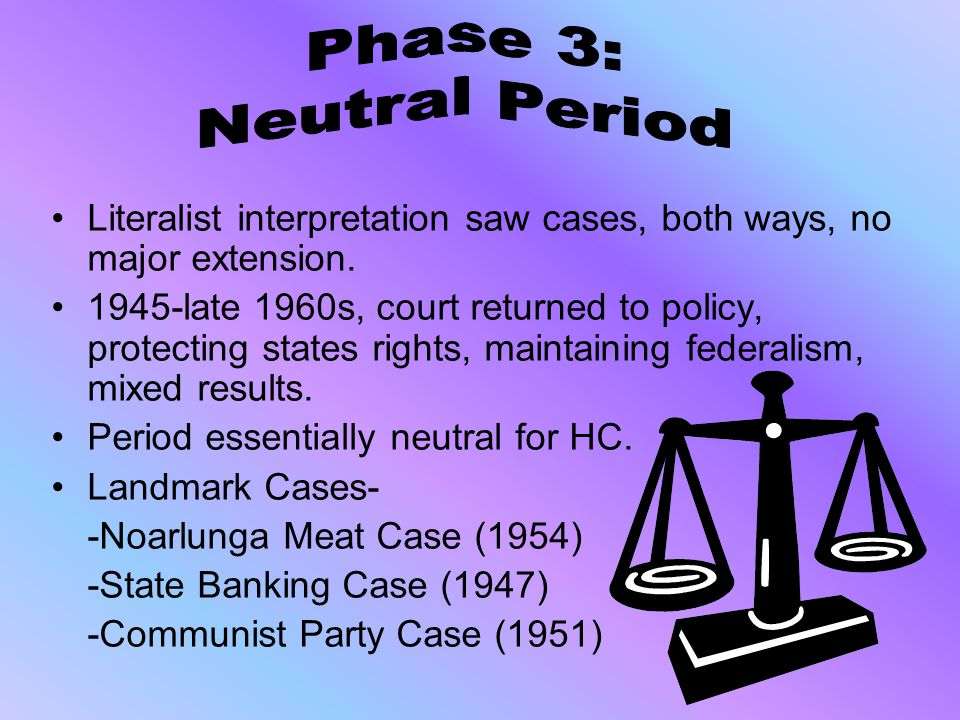 Phase 3: Neutral Period. Literalist interpretation saw cases, both ways, no major extension.