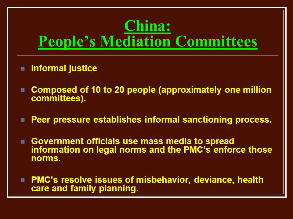 China: People's Mediation Committees