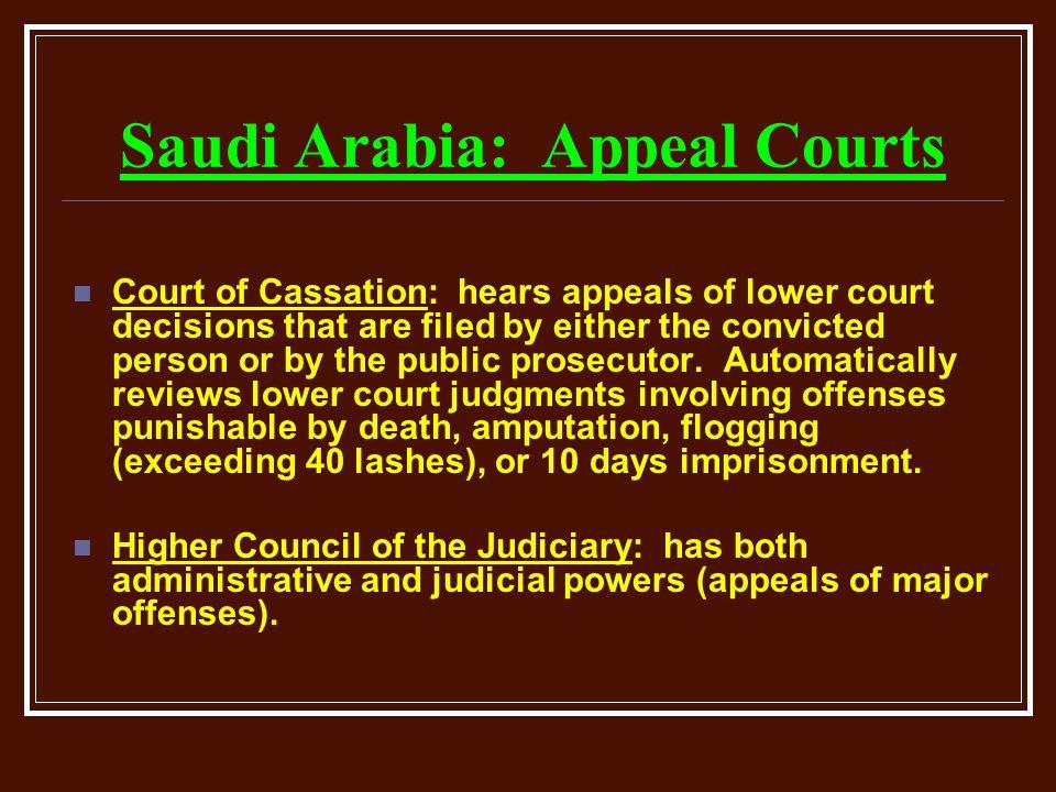 Saudi Arabia: Appeal Courts