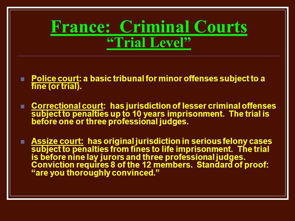 France: Criminal Courts Trial Level