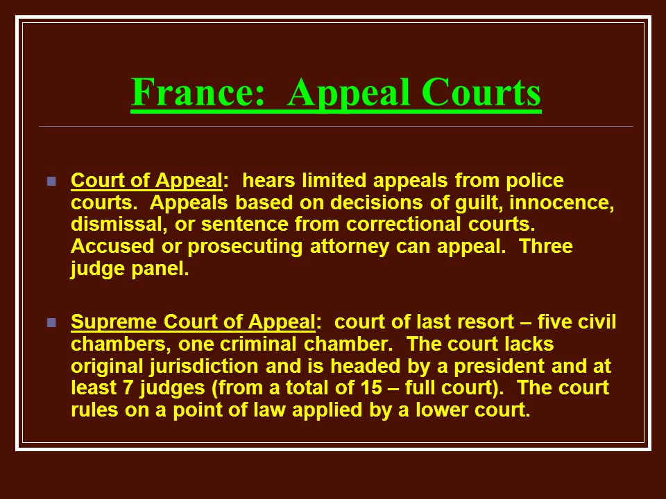 Delightful France: Appeal Courts