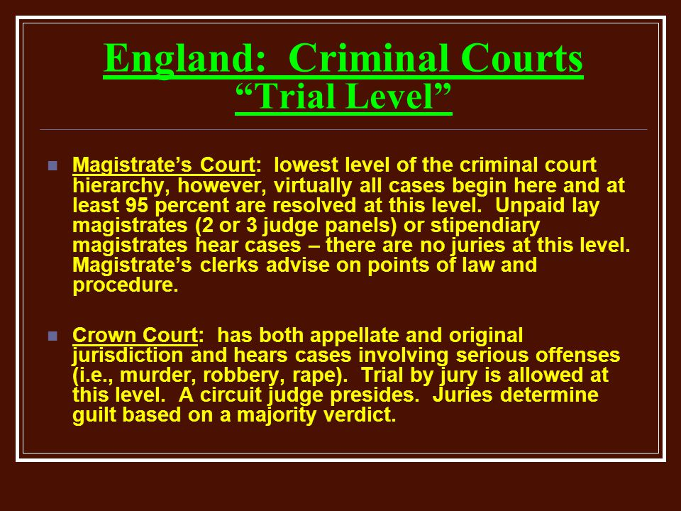 England: Criminal Courts Trial Level