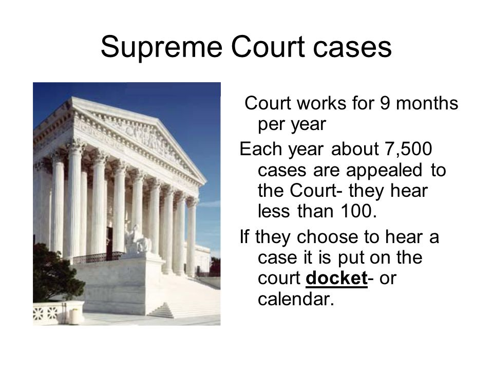 Supreme Court cases Court works for 9 months per year