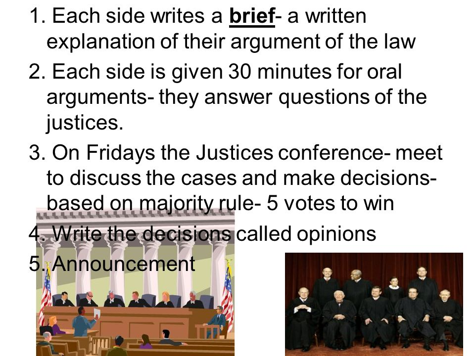 1. Each side writes a brief- a written explanation of their argument of the law