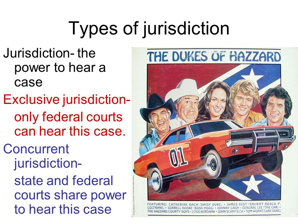 Types of jurisdiction Jurisdiction- the power to hear a case