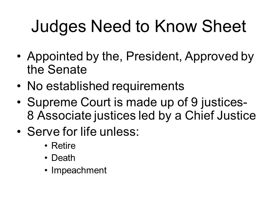 Judges Need to Know Sheet