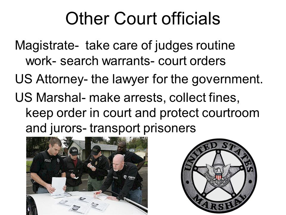 Other Court officials Magistrate- take care of judges routine work- search warrants- court orders.