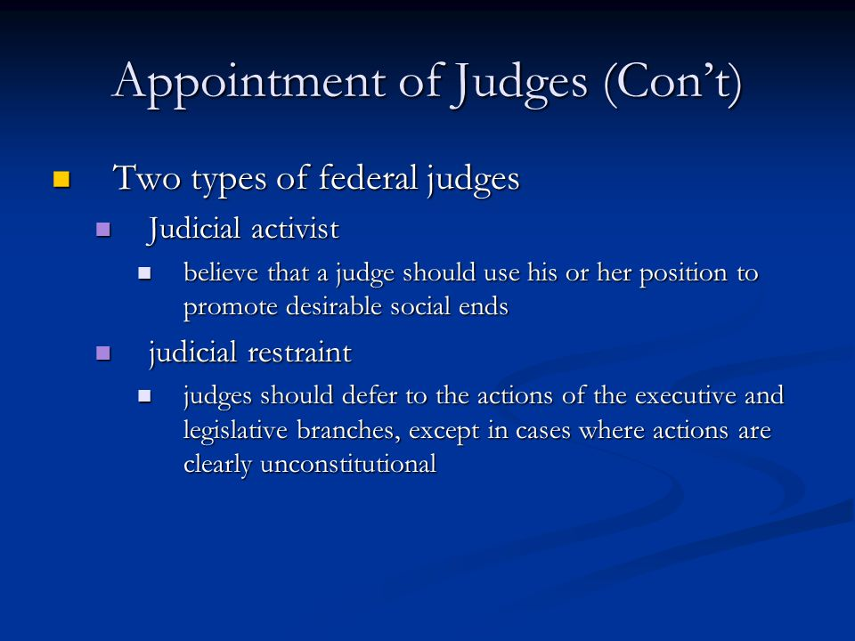 Appointment of Judges (Con't)