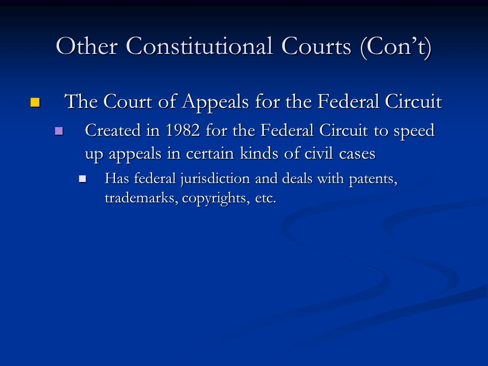 Other Constitutional Courts (Con't)