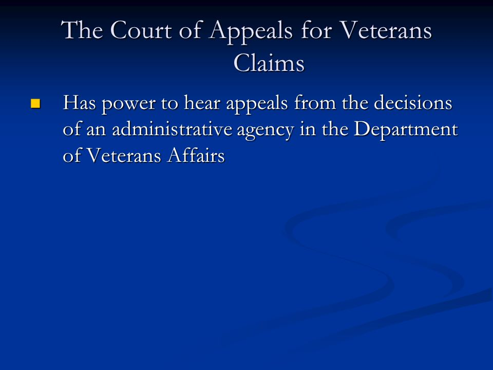 The Court of Appeals for Veterans Claims