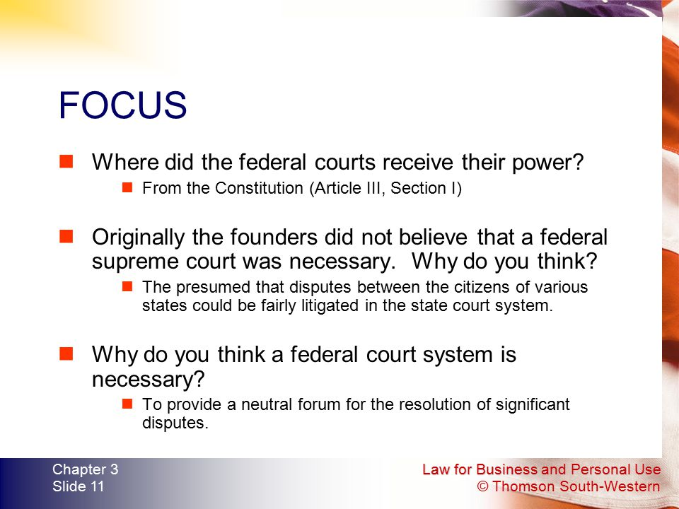 FOCUS Where did the federal courts receive their power