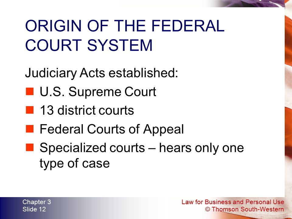 ORIGIN OF THE FEDERAL COURT SYSTEM